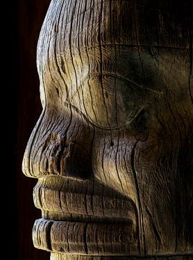 CN02BJY0167 Canada, British Columbia, Gitanyow. Detail of Gitxsan tribe totem pole.