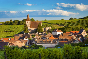 EU09BJN1925 View over town of Hunawihr along the wine route, Alsace Haut-Rhin, France