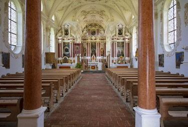 EU10BJN0010 Interior view of St. Coloman Church, the Pilgrim's Church, Schwangau, Bavaria, Germany