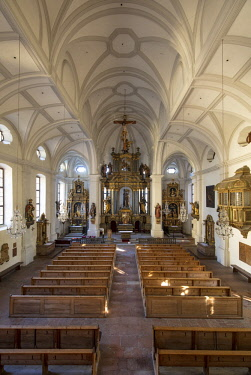 EU10BJN0025 Interior of Saint Andreas (Andrew) Church (b. 14th c), Berchtesgaden, Bavaria, Germany