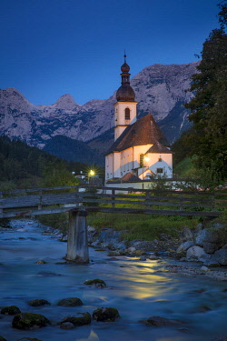 EU10BJN0031 Twilight over St. Sebastian Church, Ramsau bei Berchtesgaden, Bavaria, Germany