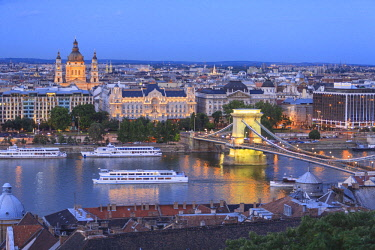EU13SWR0000 View from Castle Hill, Buda side Central Budapest, Capital of Hungaryskyline,