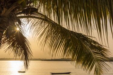 GUN0002AW Africa, Guinea Bissau. Sunrise with fishing boats.