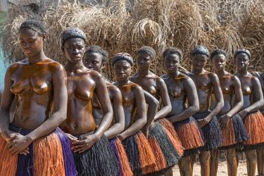 GUN0025AW Africa, Guinea Bissau. Bijagos Islands. The traditional initiation cult of girls