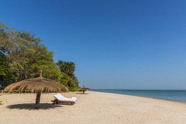 GUN0032AW Africa, Guinea Bissau. Bijagos Islands. The sandy beach of Rubane Island Ponta Anchaca Lodge