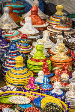 SEN1037AW Africa, Senegal, Dakar. Handmade baskets on sale on the road towards Saint Louis