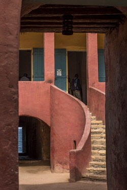 SEN1040AW Africa, Senegal, Dakar. Detail of the house of slaves on the island Goree.