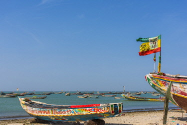 SEN1070AW Africa, Senegal, Joal. Traditional fishing boats