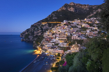 EU16BJN0561 Morning twilight over Positano along the Amalfi Coast, Campania, Italy