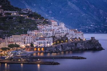 EU16BJN0568 Early morning twilight view of Amalfi, Gulf of Salerno, Campania, Italy