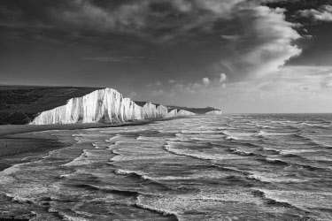 ENG15389AW A stormy sea, Seven sisters, East Sussex, England