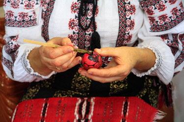 EU24EWI0642 Romania. Bukovina, Moldovita, Renowned for painted eggs decorative for Easter holidays.
