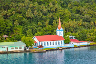 OC13DPB0463 Church, Town of Tiva, Tahaa, French Polynesia