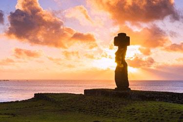 CHI11018AWRF Sunset over Moai at Tahai, Easter Island, Polynesia, Chile