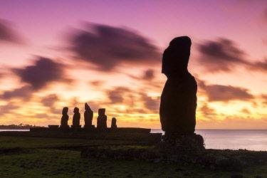 CHI11033AW Sunset over Moai at Tahai, Easter Island, Polynesia, Chile