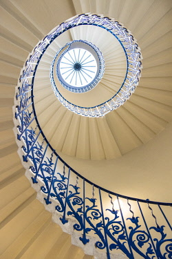ENG15441AW A spiral staircase in the Queen's House, Greenwich, London, England