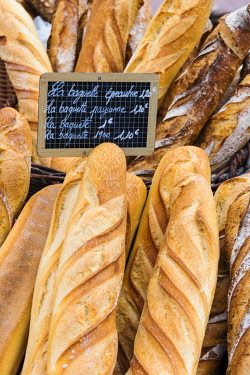 FRA10234AW Fresh bread sold at the local market in Colmar, Alsatian Wine Route, France