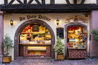 FRA10241AW Shop selling local produce in the medieval town of Riquewihr, Alsatian Wine Route, France