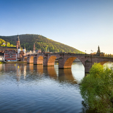 GER10747AW Heidelberg Old Bridge and Neckar river in spring, Baden-Wurttemberg, Germany