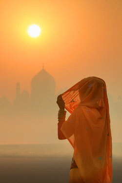 IND8537AW India, woman wearing a traditional sari on a foggy morning with the Taj Mahal in the background