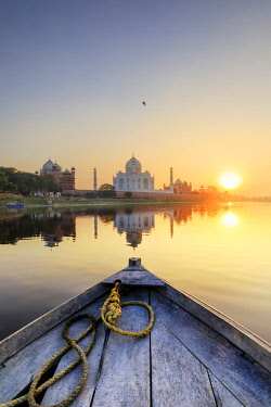 IND8544AW India, view of the Taj Mahal reflecting in the Yamuna river at sunset from a wooden boat