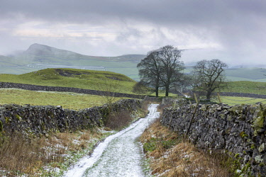 ENG15511AW England, North Yorkshire, Stainforth. Footpath above Stainforth in winter.