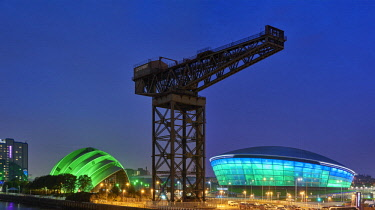 SCO34993AW Europe, Scotland, Lanarkshire, Glasgow, SEC Armadillo, Finnieston Crane and SSE Hydro