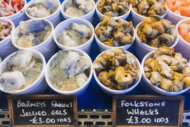 TPX62972 England, London, Southwark, London Bridge City, Borough Market, Seafood Stall Display of Whelks and Jellied Eels