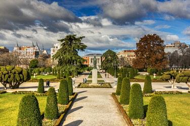 SPA7526AW Buen Retiro Park with Prado Museum in the background, Madrid, Community of Madrid, Spain