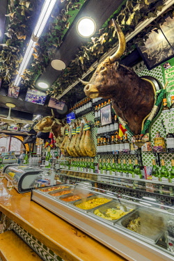 SPA7530AW Historical tapas bar adorned with traditional bullfighting memorabilia, Madrid, Community of Madrid, Spain
