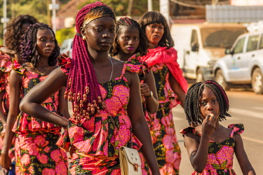 GUN0044AW Africa, Guinea Bissau. Bissau during the Carnival.