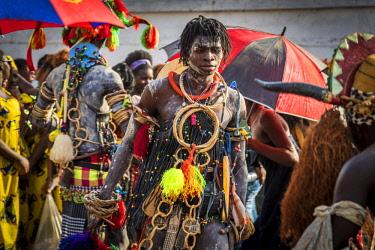GUN0050AW Africa, Guinea Bissau. Bissau, mask during the carnival