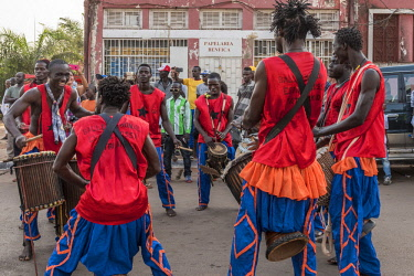 GUN0053AW Africa, Guinea Bissau. Bissau, musicians playing during the Carnival's parade