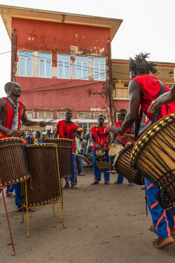 GUN0054AW Africa, Guinea Bissau. Bissau, musicians playing during the Carnival's parade