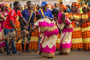 GUN0055AW Africa, Guinea Bissau. Bissau, musicians playing during the Carnival's parade