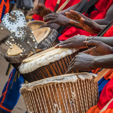 GUN0056AW Africa, Guinea Bissau. Bissau, musicians playing during the Carnival's parade