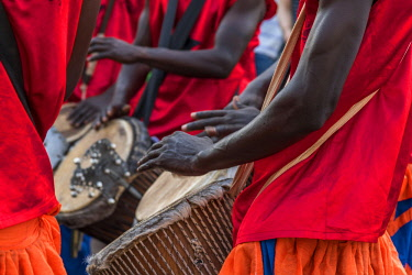 GUN0057AW Africa, Guinea Bissau. Bissau, musicians playing during the Carnival's parade