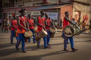 GUN0058AW Africa, Guinea Bissau. Bissau, musicians playing during the Carnival's parade