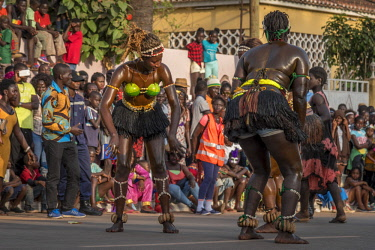 GUN0065AW Africa, Guinea Bissau. Bissau, dancing women during the Carnival's parade.