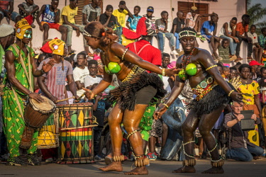 GUN0068AW Africa, Guinea Bissau. Bissau, dancing women during the Carnival's parade.