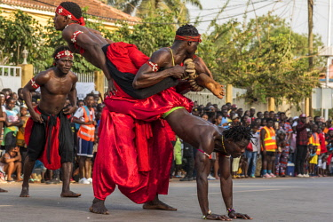 GUN0070AW Africa, Guinea Bissau. Bissau, artistry during the Carnival's parade.