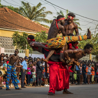 GUN0071AW Africa, Guinea Bissau. Bissau, artistry during the Carnival's parade.
