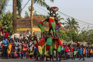 GUN0075AW Africa, Guinea Bissau. Bissau, artistry during the Carnival's parade.