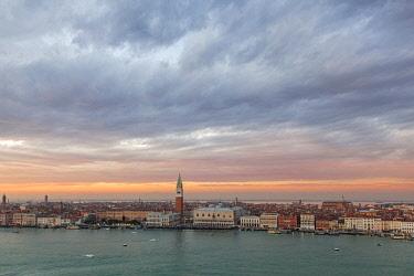 CLKDC80333 View of Venice from the bell tower of Abbey of San Giorgio Maggiore, Venice, Veneto, Italy