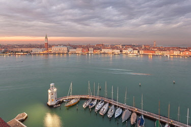 CLKDC80335 San Marco Square and the lighthouse of Venice dock from the bell tower of Abbey of San Giorgio Maggiore, Venice, Veneto, Italy