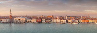 CLKDC80338 Panoramic view of San Marco Square and Schiavoni Bank from the bell tower of abbey of San Giorgio Maggiore at sunset, Venice, Veneto, Italy