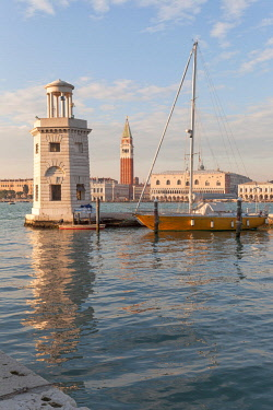 CLKDC80360 San Marco bell tower from the lighthjose at pier of San Giorgio island, Venice, Veneto, Italy