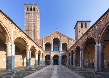 CLKMC80882 View of the entrance of the Basilica di Sant'Ambrogio, Milan, Lombardy, Italy.