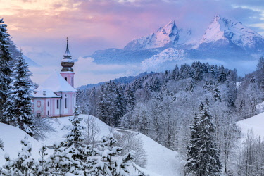 CLKMG81575 Pilgrimage church Maria Gern in winter and Watzmann in background, Berchtesgaden, Bavaria, Germany, Europe