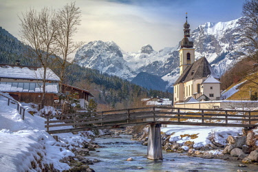CLKMG81585 Parish Church of St. Sebastian, Ramsau near Berchtesgaden in winter, Berchtesgadener Land district, Upper Bavaria, Bavaria, Germany